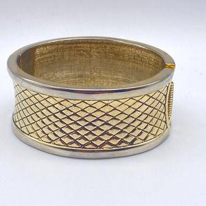 Gold Tone Basketweave Hinged Bracelet